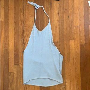 cotton blue halter top